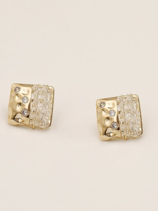 HYACINTH Brass Cubic Zirconia Geometric Vintage Stud Earring