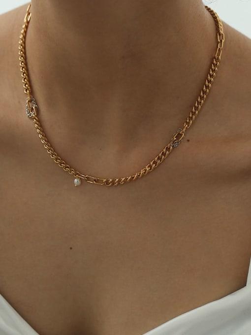 Five Color Brass Geometric Minimalist Necklace 1