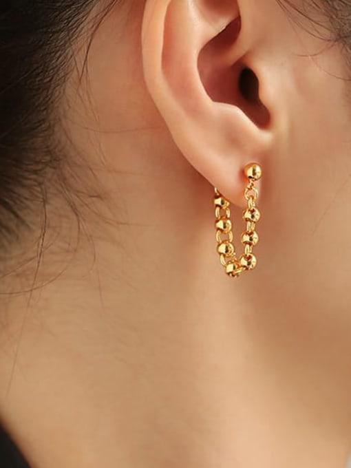 ACCA Brass Bead Tassel Vintage Drop Earring 1