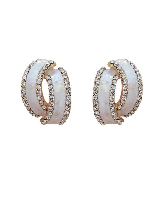 HYACINTH Brass Rhinestone Enamel Geometric Minimalist Stud Earring 3