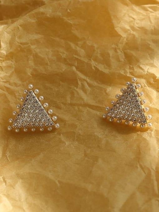 HYACINTH Brass Cubic Zirconia Triangle Vintage Stud Earring 3