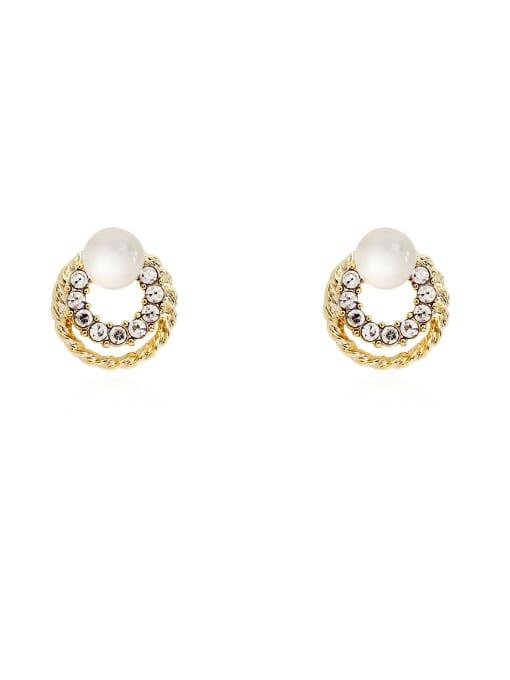 HYACINTH Brass Imitation Pearl Round Ethnic Stud Earring