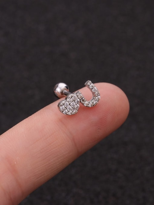 HISON Brass Cubic Zirconia Ball Cute Stud Earring 2