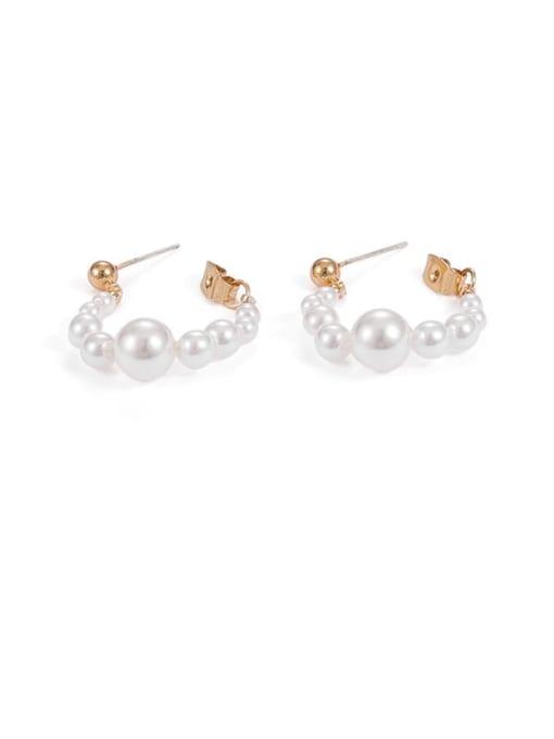 Five Color Brass Imitation Pearl Geometric Minimalist Huggie Earring 2