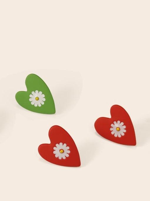 Five Color Alloy Enamel Heart Cute Stud Earring 3