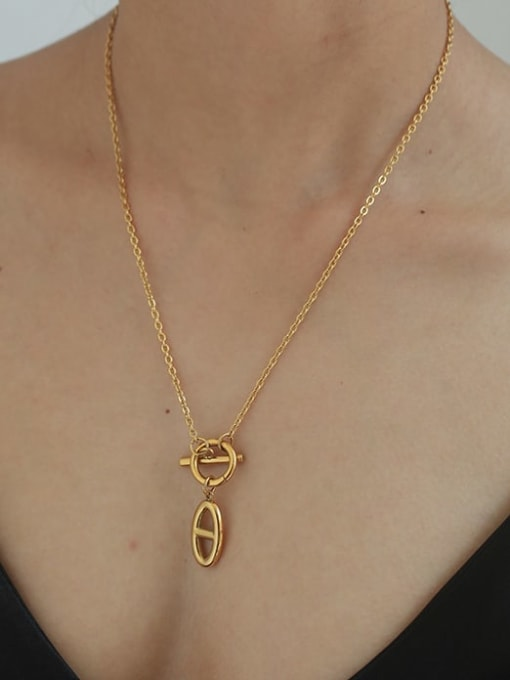 Five Color Brass Hollow Geometric Minimalist Necklace 1