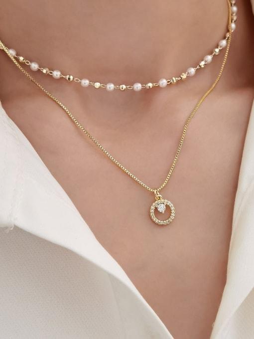 HYACINTH Brass Imitation Pearl Geometric Minimalist Multi Strand Necklace 2
