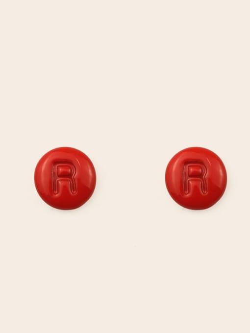 R Alloy Enamel Letter Minimalist Stud Earring