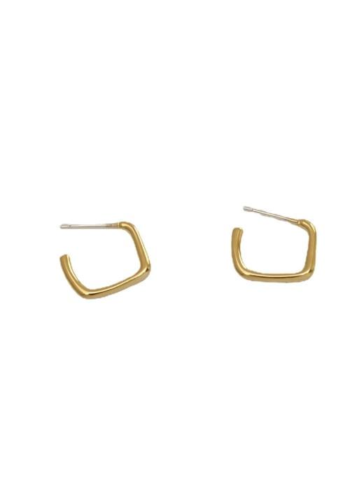 HYACINTH Brass Smooth Geometric Minimalist Stud Earring 4