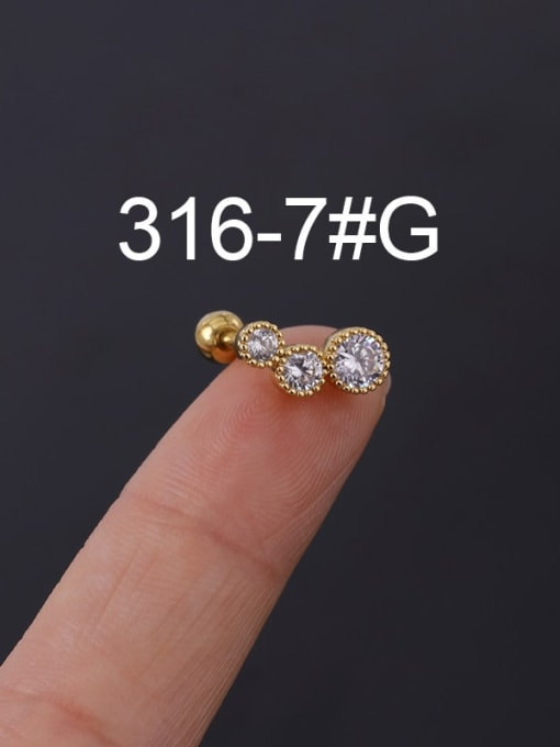 7G Stainless steel with Cubic Zirconia Ear Bone Nail/Puncture Earring