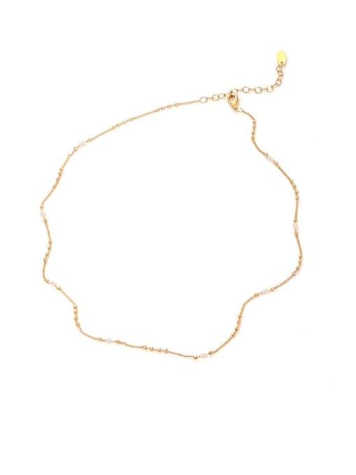 Five Color Brass Minimalist  Line Chain Necklace 0
