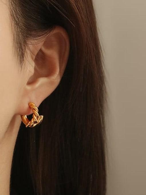 ACCA Brass Irregular Hip Hop Stud Earring 1