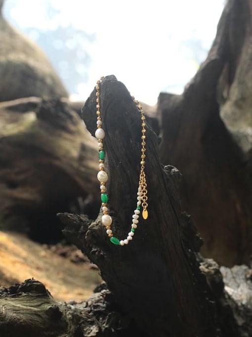 TINGS Brass Imitation Pearl Geometric Minimalist Necklace 3