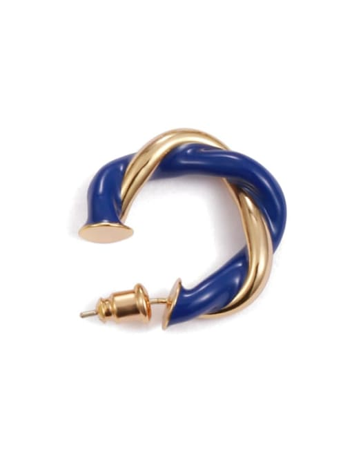 Dark blue  (Single ) Brass Enamel Geometric Minimalist Single Earring