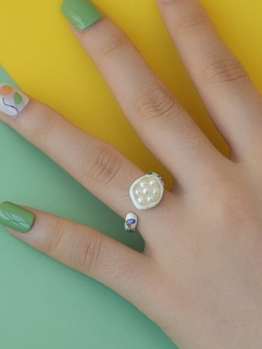 Five Color Zinc Alloy Enamel Geometric Hip Hop Band Ring 1
