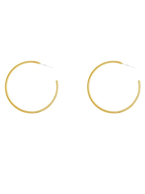 HYACINTH Brass Hollow Round Minimalist Hoop Earring 3
