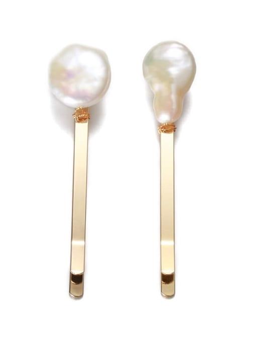 Five Color Brass Freshwater Pearl Vintage Irregular  Hair Barrette 3
