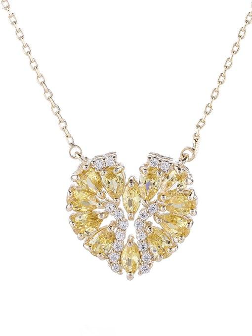 yellow Brass Cubic Zirconia Heart Statement Necklace