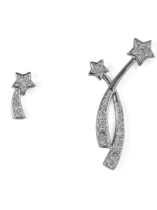 ACCA Brass Cubic Zirconia Star Dainty Stud Earring 3