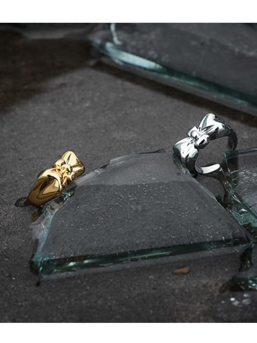 TINGS Brass Bowknot Hip Hop Band Ring
