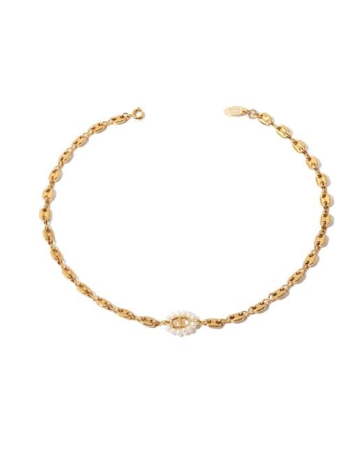 Pig nose Necklace Brass Imitation Pearl Geometric Hip Hop Necklace
