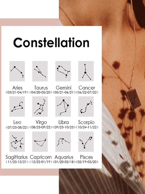 Desoto Stainless steel Constellation Minimalist Round Pendant Necklace 2