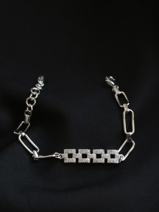 ACCA Brass Cubic Zirconia Geometric chain Vintage Bracelet