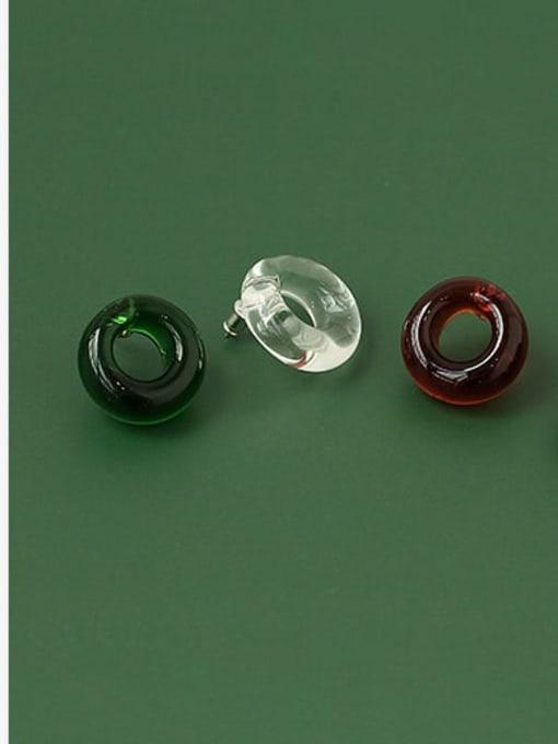 ACCA Coloured Glaze Round Vintage Stud Earring( Single) 3