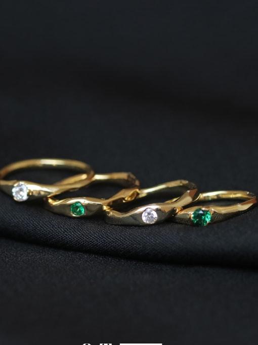 ACCA Brass Cubic Zirconia Geometric Minimalist Band Ring 2
