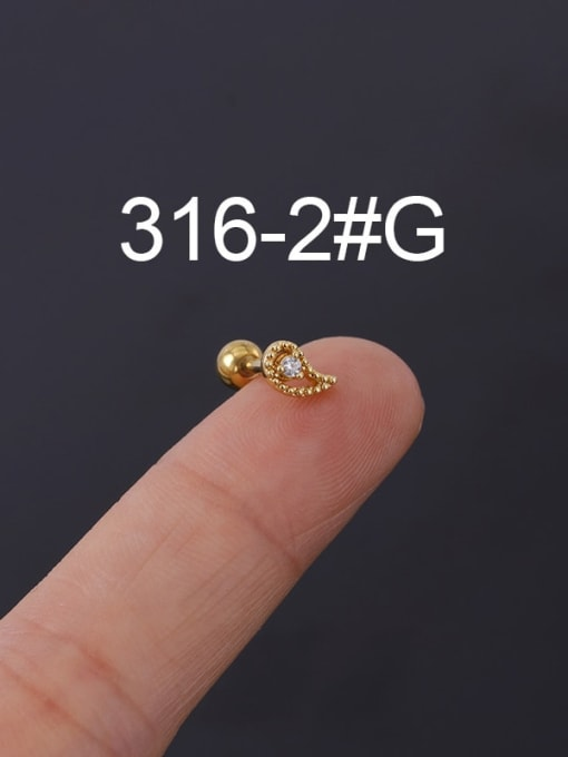 2G Stainless steel with Cubic Zirconia Ear Bone Nail/Puncture Earring