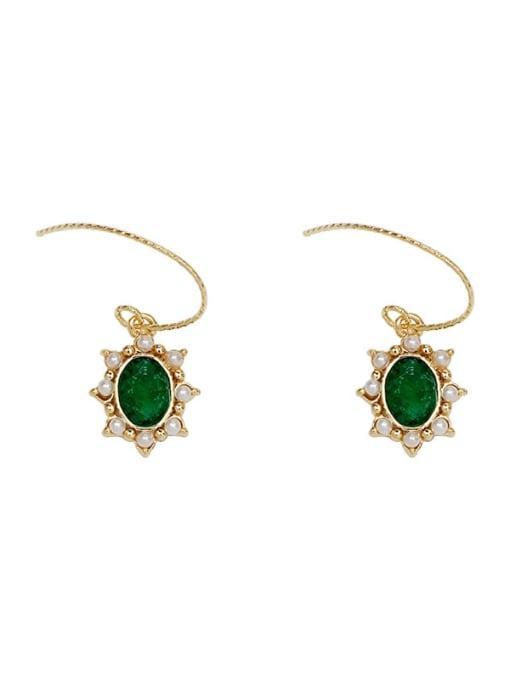 HYACINTH Brass Imitation Pearl Geometric Vintage Hook Earring