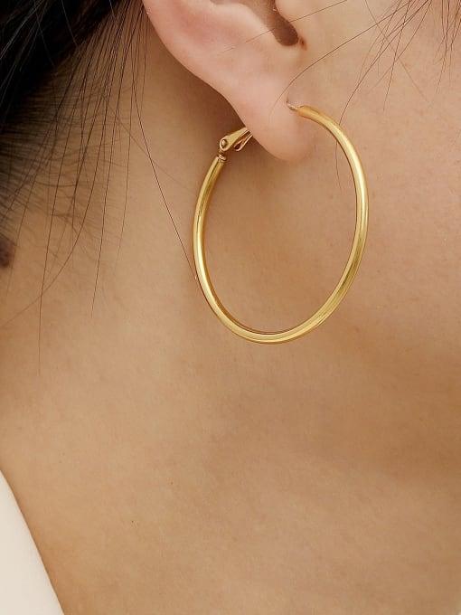 HYACINTH Brass Geometric Minimalist Hoop Trend Korean Fashion Earring 1