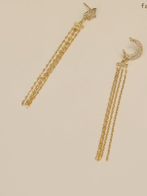 HYACINTH Copper  Moon Star  Tassel Vintage Threader Earring 2