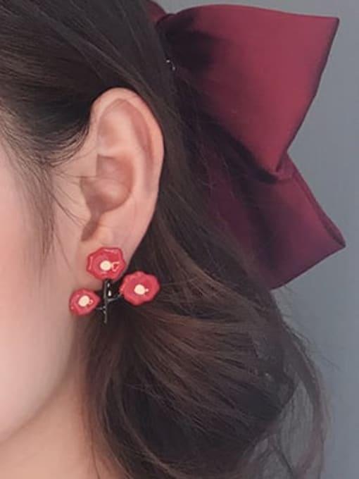 Five Color Alloy Enamel Flower Cute Single Earring 1