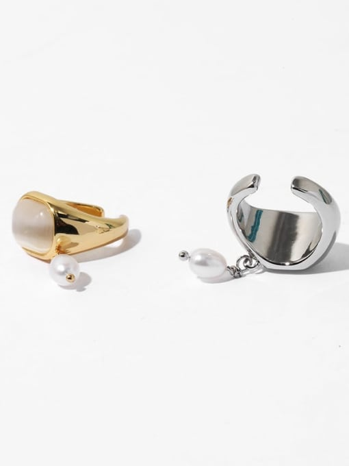 TINGS Brass Cats Eye Geometric Vintage Single No pierced ear clip 3