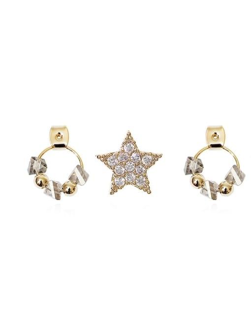 HYACINTH Brass Cubic Zirconia Star Vintage Pentagram White Crystal Huggie Earring 0