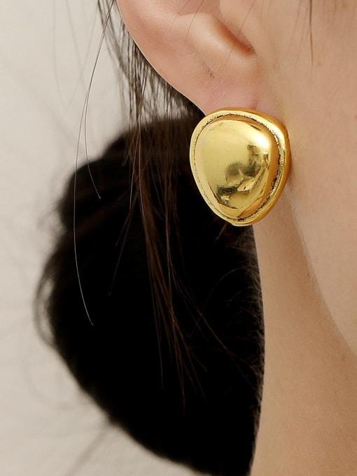 HYACINTH Brass Smooth Triangle Minimalist Stud Trend Korean Fashion Earring 1