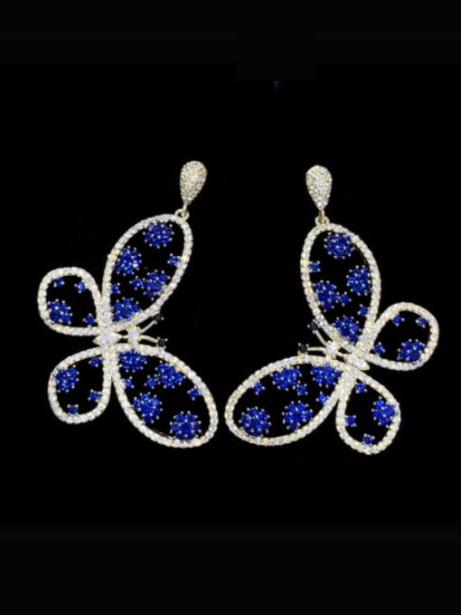 SUUTO Brass Cubic Zirconia Butterfly Luxury Drop Earring 1