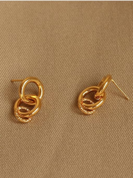 ACCA Brass Hollow Geometric Minimalist Drop Earring 2