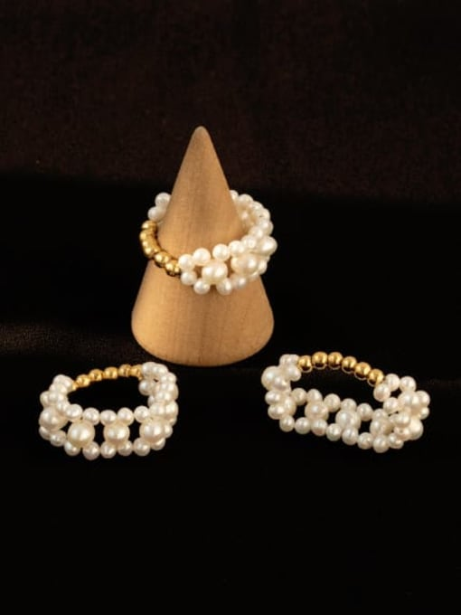 ACCA Brass Freshwater Pearl Round Vintage Band Ring 1