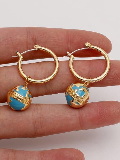 HYACINTH Brass Enamel Geometric Vintage Huggie Earring 1