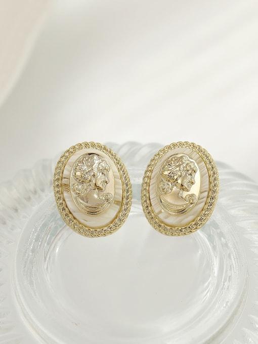 14k Gold Brass Shell Oval Vintage Stud Earring