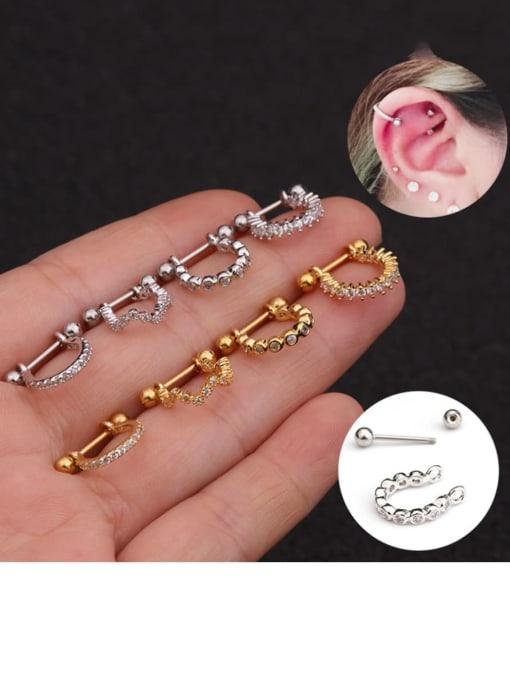 HISON Brass Cubic Zirconia Irregular Minimalist Huggie Earring