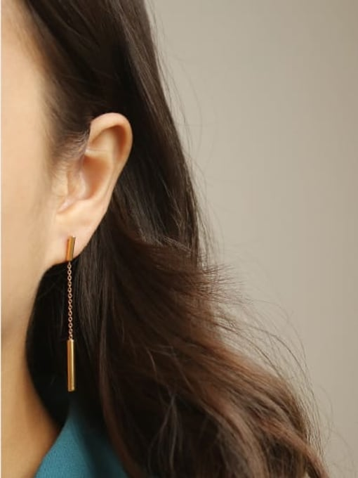 ACCA Titanium Geometric Minimalist Drop Earring 1