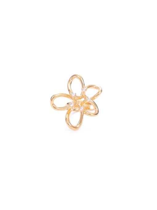 Gold (single sale) Brass Cubic Zirconia Flower Minimalist Stud Earring