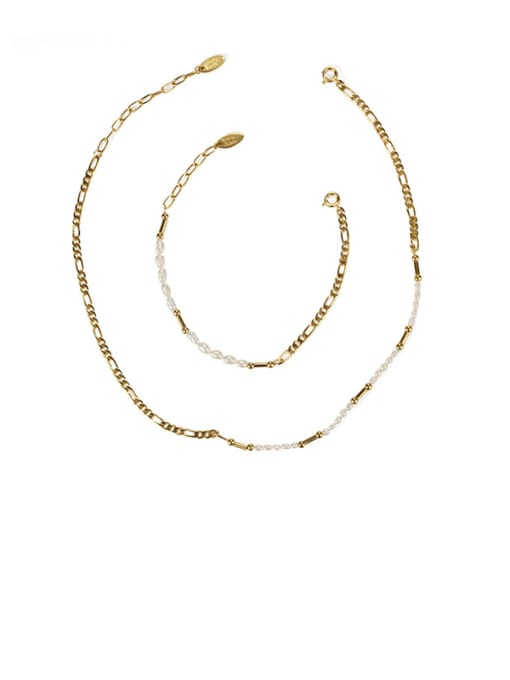 Pearl Necklace Brass Freshwater Pearl Irregular Minimalist Necklace
