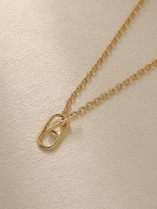 14k Gold Brass Hollow Geometric Vintage Trend Korean Fashion Necklace