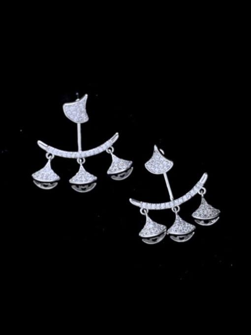 steel Brass Cubic Zirconia Geometric Minimalist Drop Earring