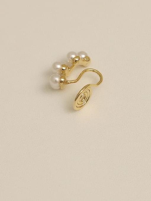 golden Brass Imitation Pearl Geometric Vintage Drop Earring