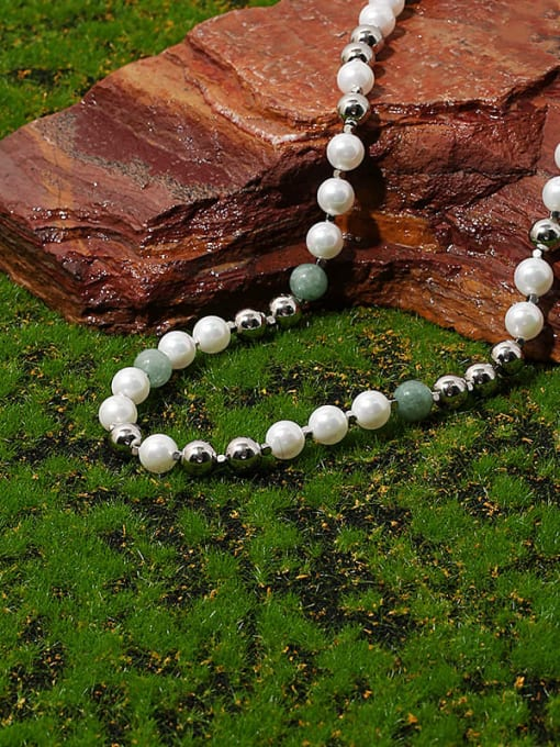 TINGS Brass Imitation Pearl Geometric Vintage Beaded Necklace 0
